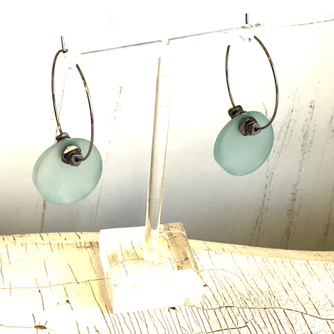 Teal Frosted Disc & Gun Metal Hoop Drop Earrings