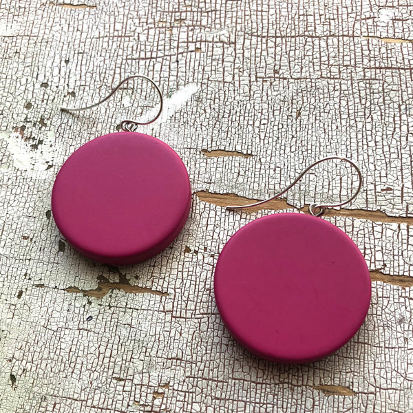 mauve disc earrings