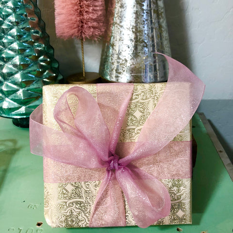 Holiday Gift Wrap - Boxed Loveliness w/Sparkle Bow & Tag
