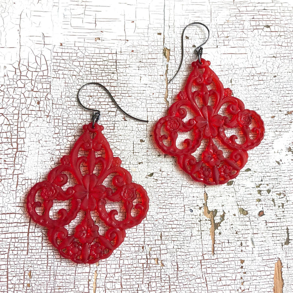 red filigree chandelier earrings