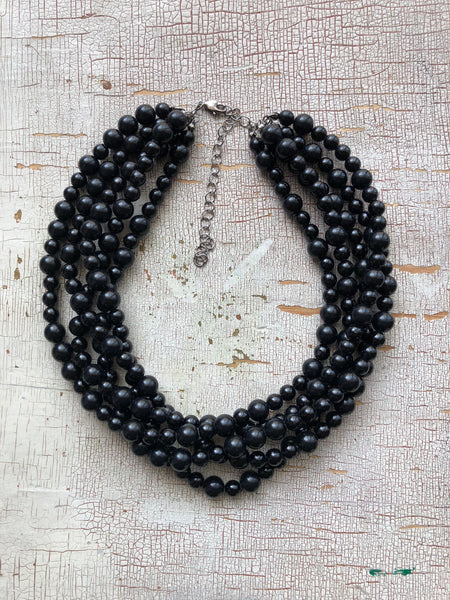 black sylvie necklace multi strand