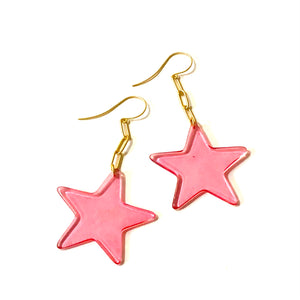 Cranberries & Paperclip Star Drop Earrings