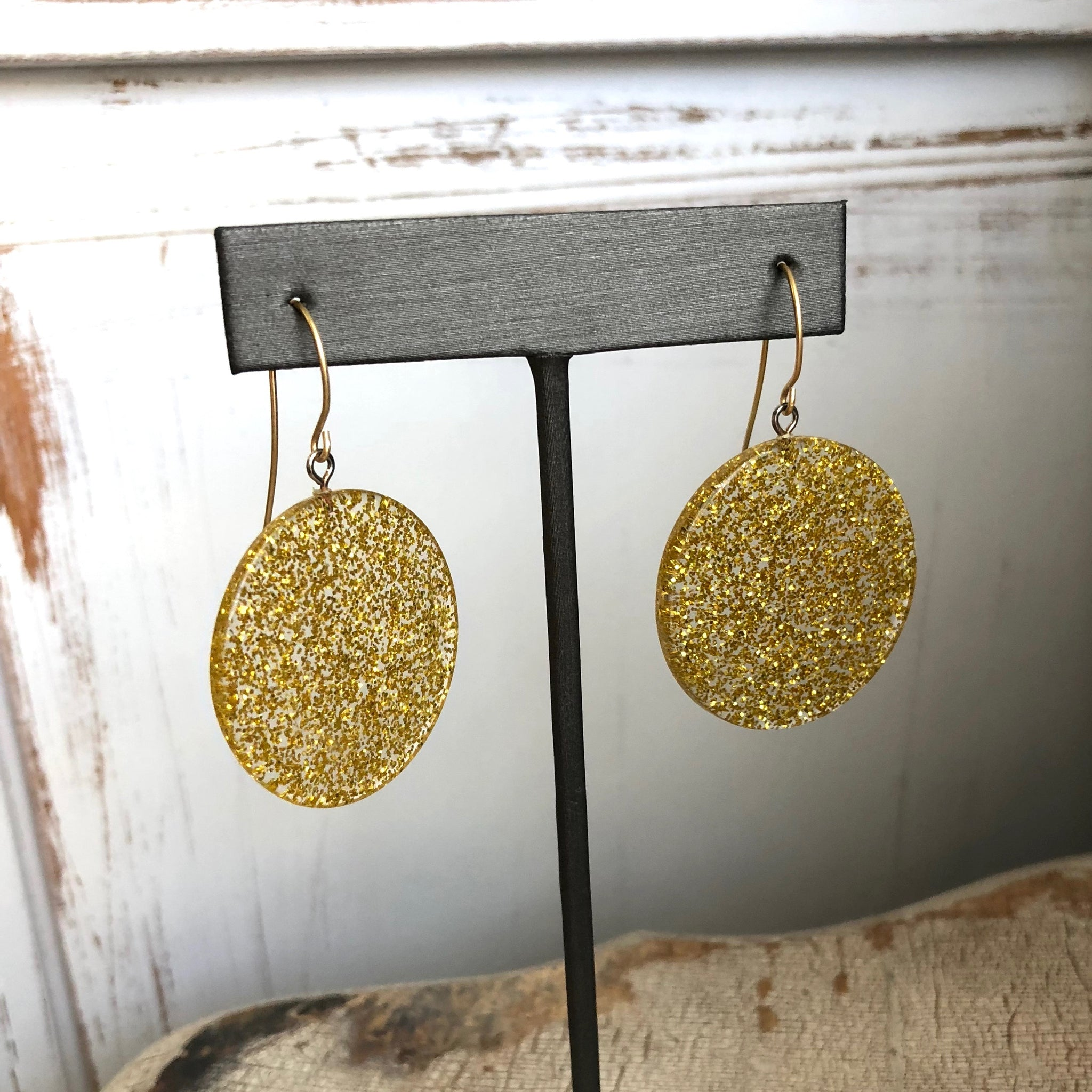 gold sparkle earrings