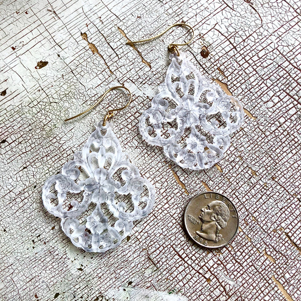 Clear Frosted Filigree Chandelier Lucite Statement Drop Earrings
