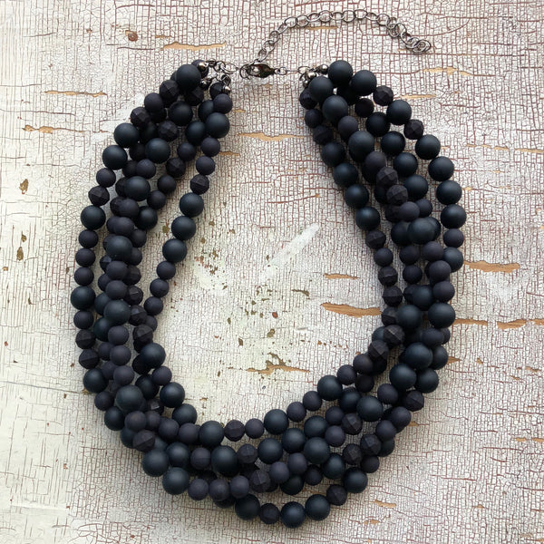 frosted black sylvie necklace