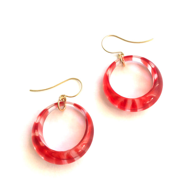 Candy Cane Retro Hoop Drop Earrings