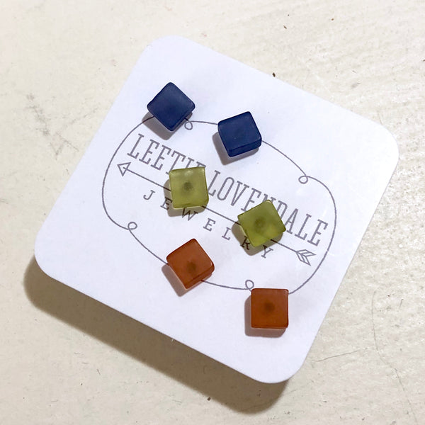 Blue Green & Brown Frosted Minimalist Mod Square Stud Earrings Set