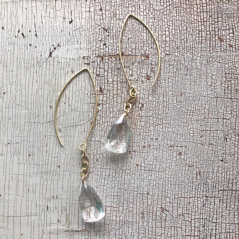Clear Faceted Briolette RainChain Drop Earrings