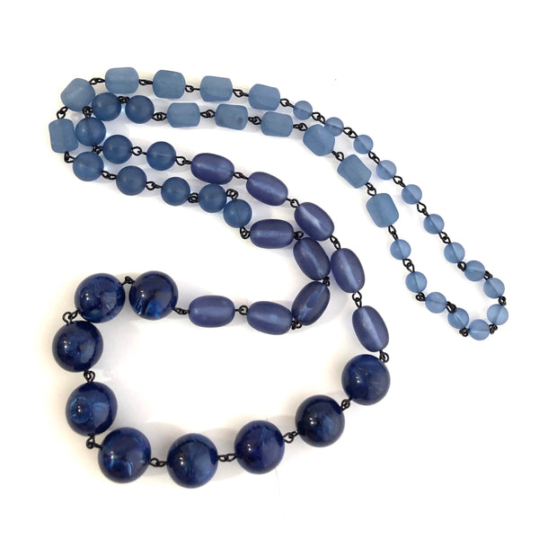 navy blue necklace beaded