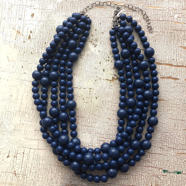 navy blue necklace chunky