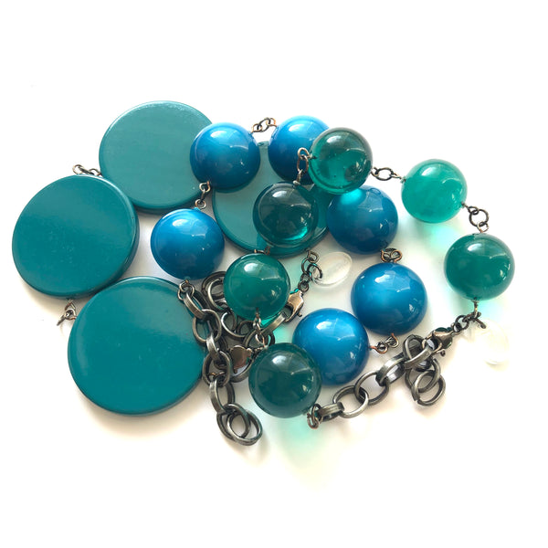 blues greens stack bracelets
