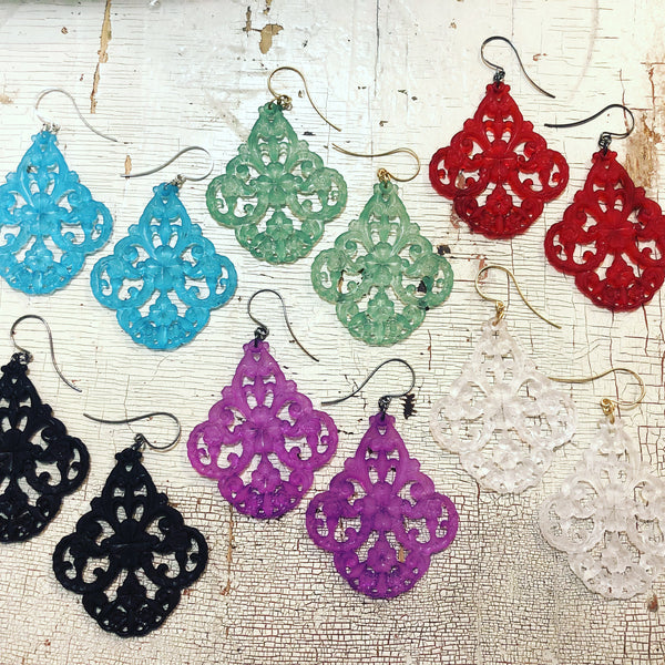 lucite lace earrings