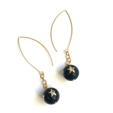 Black & Gold Super Star RainChain Drop Earrings