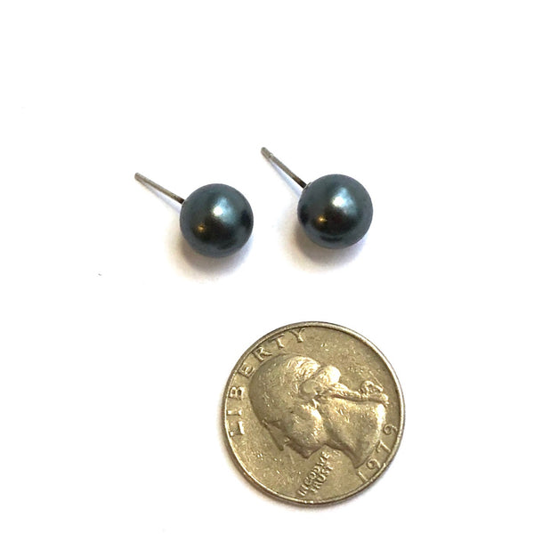 Black Pewter Pearl Lucite Ball Stud Earrings