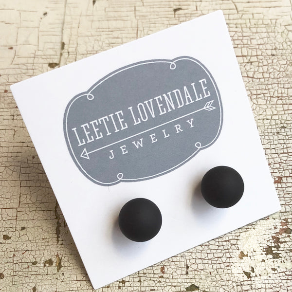 black frosted stud earrings