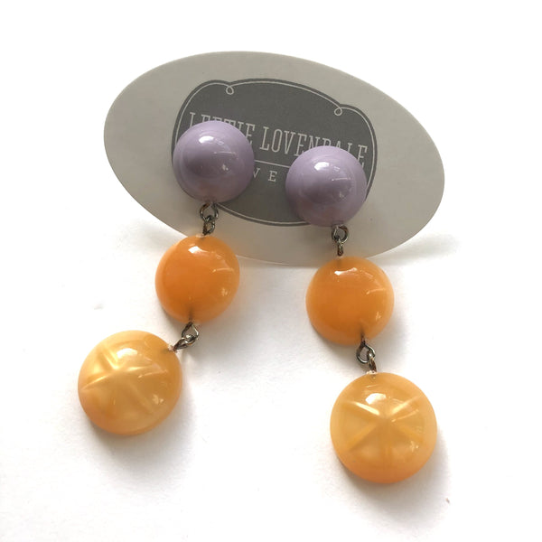 purple peach earrings