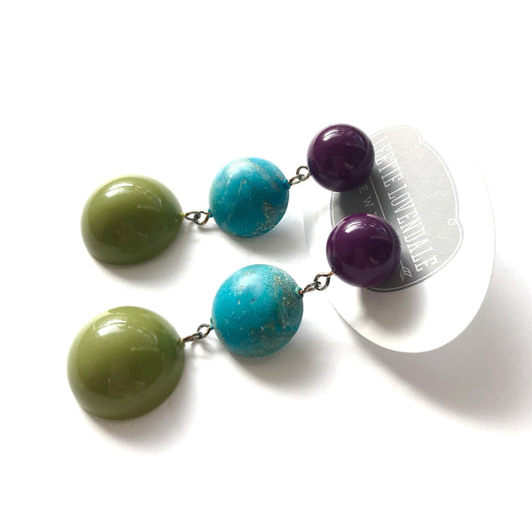 turquoise olive earrings