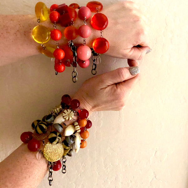 layered lucite bracelets