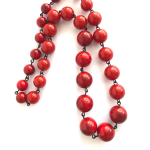 bright red linked necklace