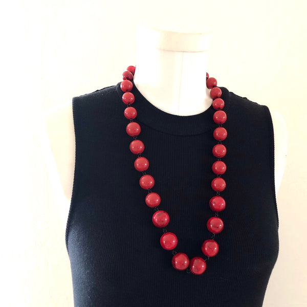red linked lucite necklace