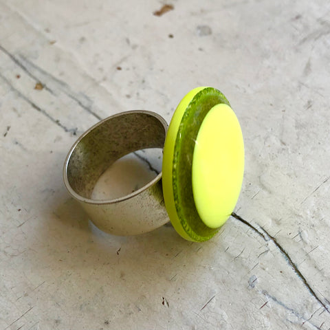 Neon Yellow Glitter Resin Cocktail Ring