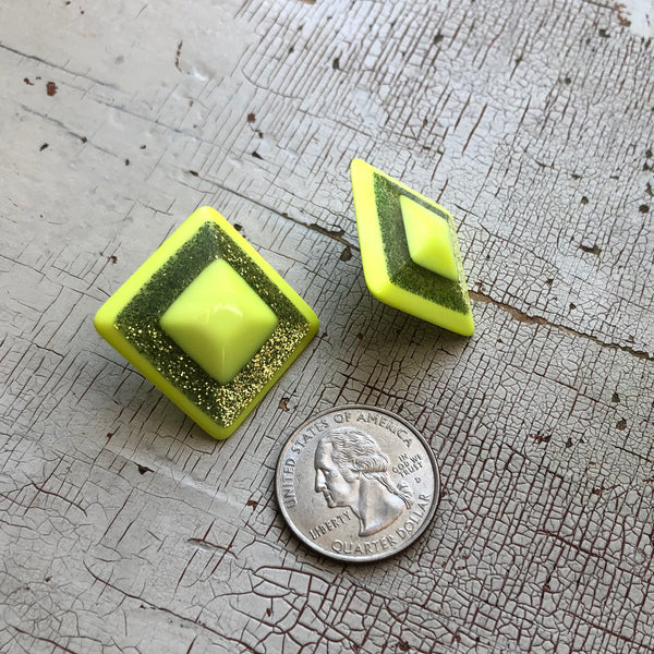 Neon Yellow Sparkle Square Stud Earrings
