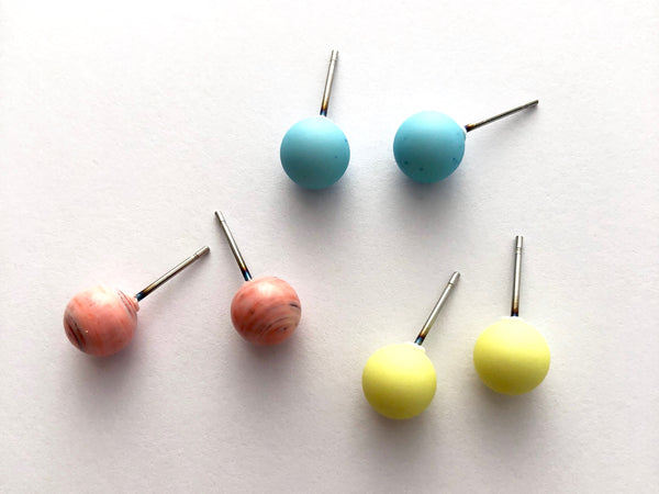 Spring Sherbert | 8mm Vintage Lucite Triple Stud Earrings Set