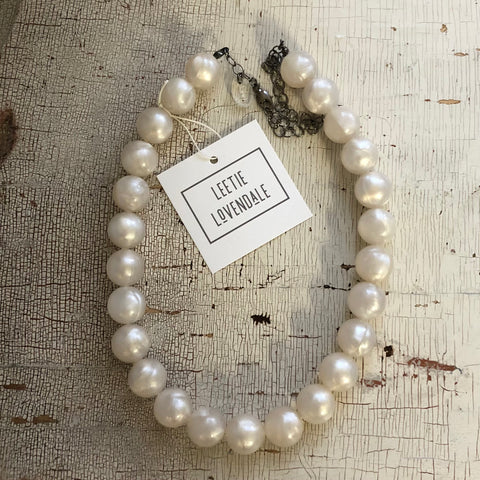 White Pearl Vintage Lucite Beaded Marco Necklace