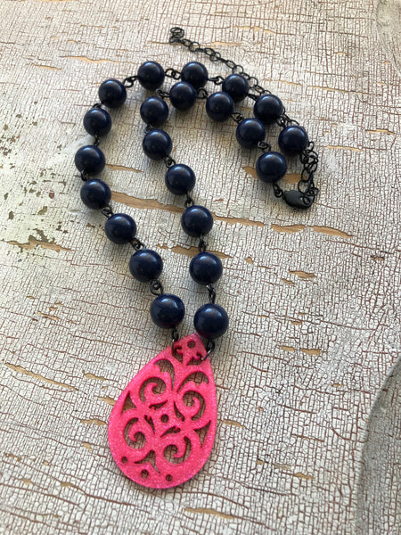 navy blue pink necklace