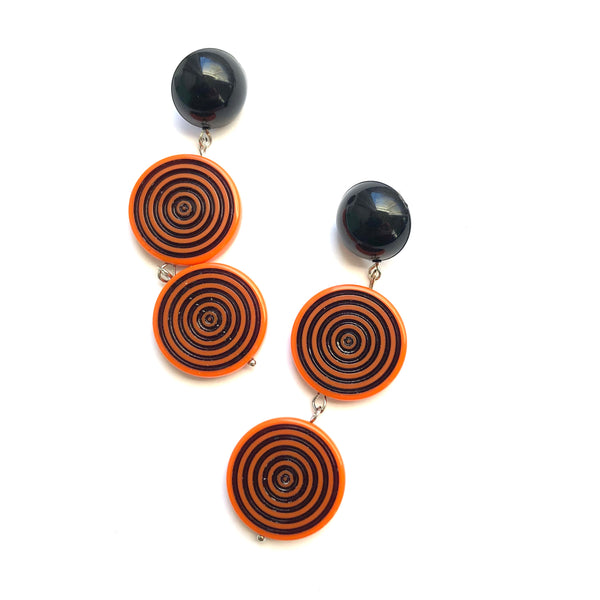 Orange & Black TurnTable Statement Earrings