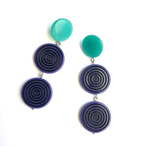 Blue & Green TurnTable Statement Earrings