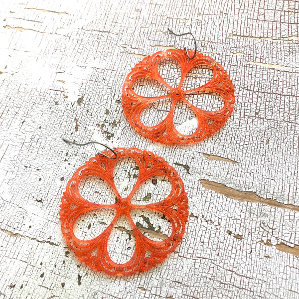 coral lace earrings