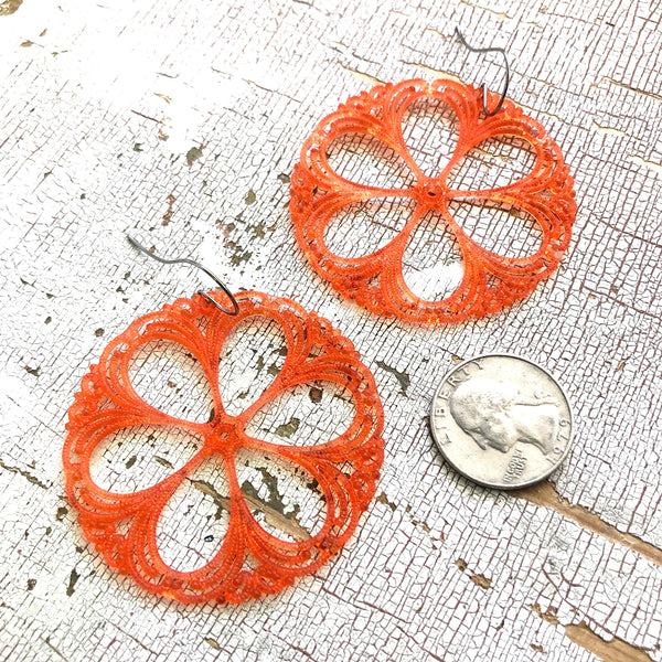 coral lace drop earrings