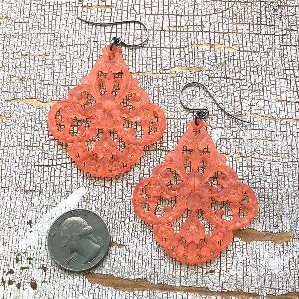 coral frosted chandelier earrings