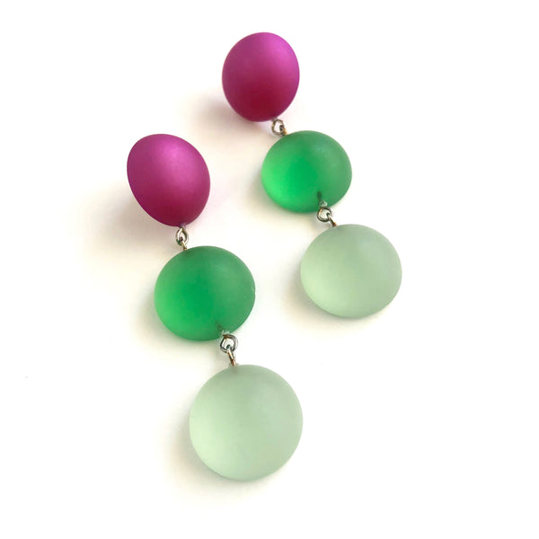Violet Kelly & Mint Green Frosted Moonglow Tri Dot Drop Earrings