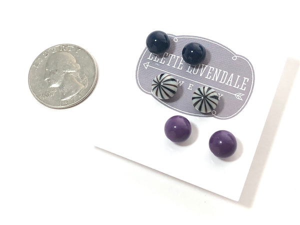 dark purple stud earrings
