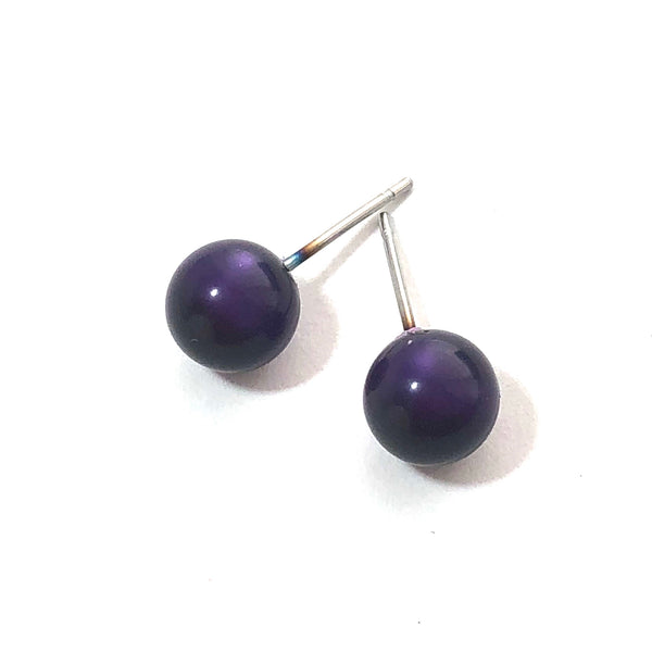purple moonglow stud earrings