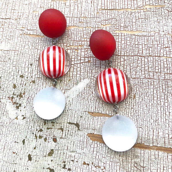 cherry red statement earrings