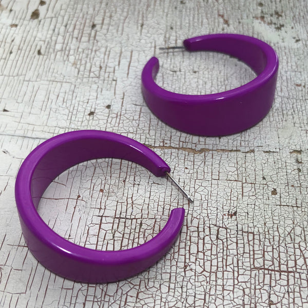violet statement earrings