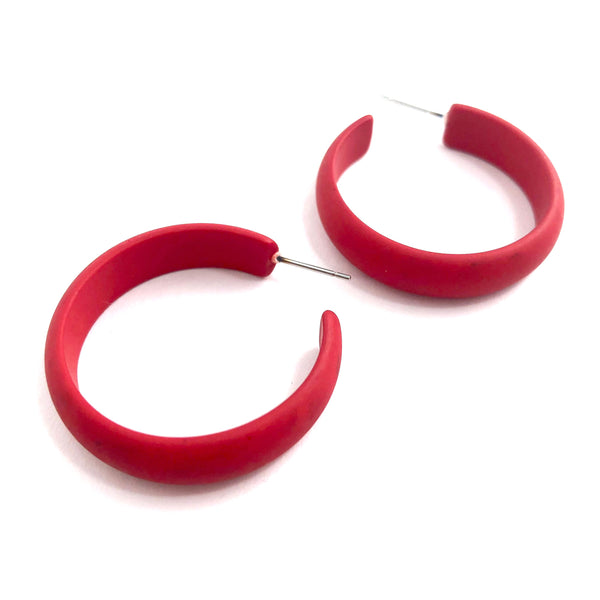 bright red midi hoops