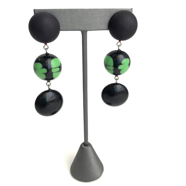 spotted green earrings