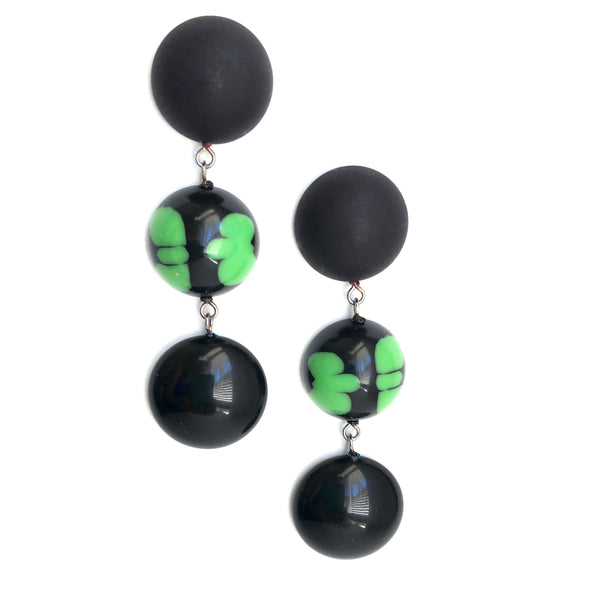 matte black green earrings