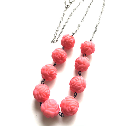 Pink Roses & Hearts Chain Rope Necklace