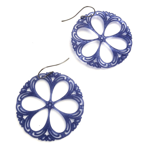 denim blue lace earrings