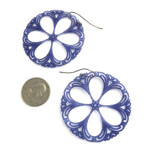 dark blue lace earrings