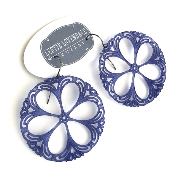 lace shield blue earrings