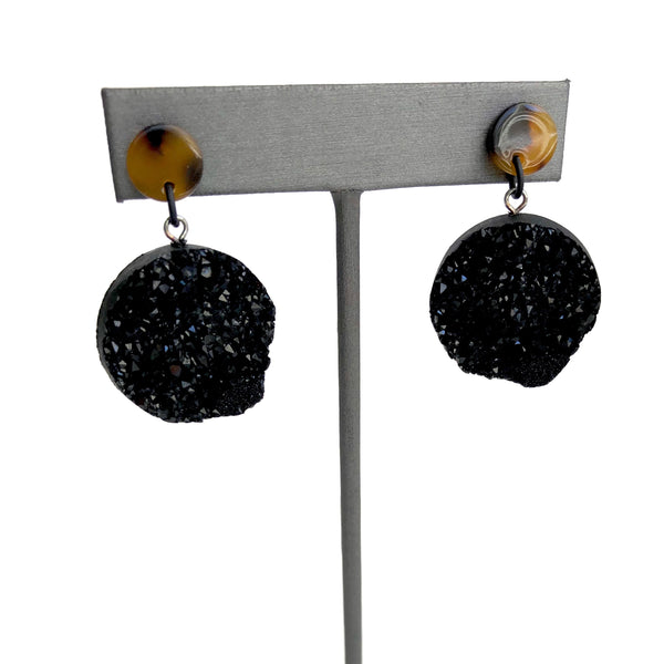 tortoise black earrings