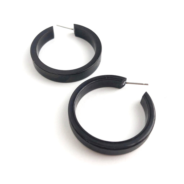 shiny black hoops