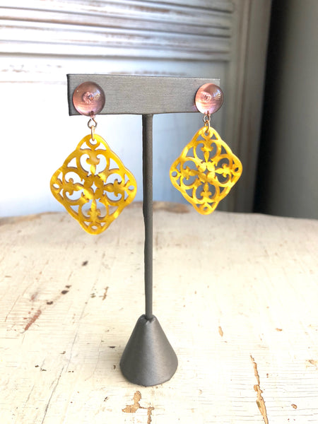 Gold & Pink Bohemian Lace Earrings - Carved Medallion Drops