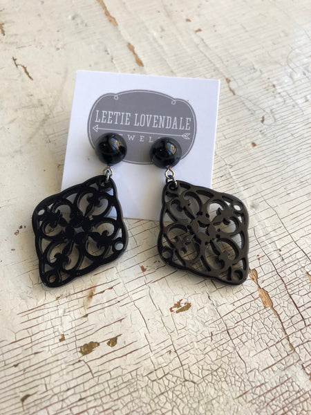 black bohemian earrings